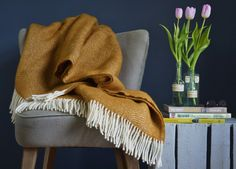 Mustard Yellow Herringbone Throw- The British Blanket Company