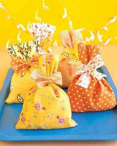 Give new life to outgrown clothing, fabric and paper scraps, and other materials lying around the house with our wallet-friendly craft ideas.Use leftover fabric scraps to make cheerful favor bags for party guests.