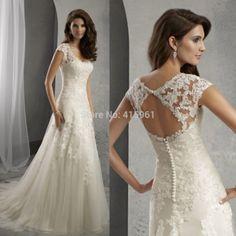 2015 Lace Design A Line Cap Sleeve Cheap Wedding Dress Bridal Gowns Appliques Vestido De Renda Curto W3740
