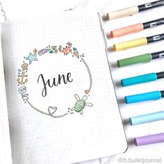 We are halfway through the year, and it's time to show off June bujo layouts. Let's check out these gorgeous hello June bullet journal layout ideas. Doodle Bullet Journal, Bullet Journal Cover Page, Bullet Journal Notebook, Bullet Journal Inspo, Bullet Journal Spread, Bullet Journal Ideas Pages, Journal Covers, Bullet Journal Months, Junk Journal