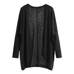 SheIn(sheinside) Black Long Sleeve Loose Knit Cardigan (16 AUD) ❤ liked on Polyvore featuring tops, cardigans, jackets, sweaters, outerwear, black, loose tops, loose cardigan, black knit cardigan and loose knit top