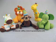 Items similar to Fondant Sweet Safari Blue Cake or Cupcake Topper Set by Cupcake Stylist on Etsy, Made to Order on Etsy Fondant Toppers, Fondant Cakes, Cupcake Toppers, Cupcake Cakes, Mini Cakes, Jungle Theme Cakes, Safari Cakes, Biscuit, Pinterest Cake
