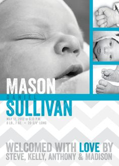 Aqua & Gray Chevron birth announcement BOY or by mollyandgordon, $15.00