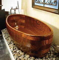 Adagio Wood Tub | To see more incredible bathroom decor ideas visit us at www.luxurybathrooms.eu #bathroomfurniture #modernbathroom #woodenbathtub