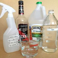 DIY Windex - Mix equal parts alcohol, water, and vinegar in a spray bottle, then use that as a spot- and streak-free glass cleaner. DID IT WORK? Exactly as well as Windex — very well in almost all situations, except the grimiest. Alcohol Vinegar, Vinegar And Water, Rubbing Alcohol, White Vinegar, Household Cleaning Tips, House Cleaning Tips, Cleaning Hacks, Household Cleaners, Cleaning Items