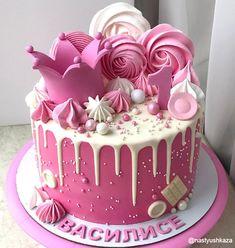 Cake Decorating Techniques, Cake Decorating Tips, Aniversary Cakes, Girls First Birthday Cake, Elegant Birthday Cakes, Cake Decorating Frosting, Crown Cake, Wedding Cake Roses, Baby Girl Cakes