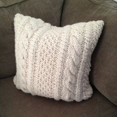 Chunky Cable Hand Knit Pillow Cover 24 x 24 Ivory Wool and acrylic  Hand wash and lay flat to dry  Can make custom to order. Custom color and size. Just ask.
