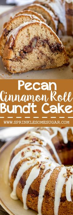 This cake is so soft with a gooey pecan cinnamon swirl in the center! All of the flavors you love about a cinnamon roll, in a super easy cake!