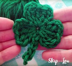 In just a few minutes you can whip up this free crochet shamrock for St Patrick's Day! Turn these little clovers into pins or cute little hair clips. From MichaelsMakers Skip To My Lou