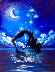Mermaid and Moon Beginners learn to paint full acrylic art lesson I will show you step by step how to paint this full painting. YOU can do this art tutorial . Mermaid Artwork, Mermaid Drawings, Art Drawings, Mermaid Paintings, Drawings Of Mermaids, Drawing Ariel, Drawing Faces, Art Painting Tools, Moon Painting