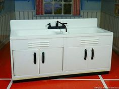 """Ideal RARE Deluxe Sink Cabinet Vintage Dollhouse Furniture 3 4"""" Renwal Marx 
