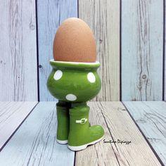 Green Egg Cup Spotty Egg Holder Walking Pottery Polka Dot