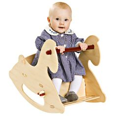 Giddy-up! This Danish-designed Wooden Rocking Horse by Moover gives toddlers a rockin' ride. Rocking is such an important activity for children. It stimulates the vestibular system, improving a child'