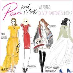 @therealoliviap @marchesafashion Pearl and her friends wearing #oliviapalermo looks! Like @marchesafashion, @houseofherrera, @katieermilio and @burberry #fashion #fashionillustrations #comic #illustration