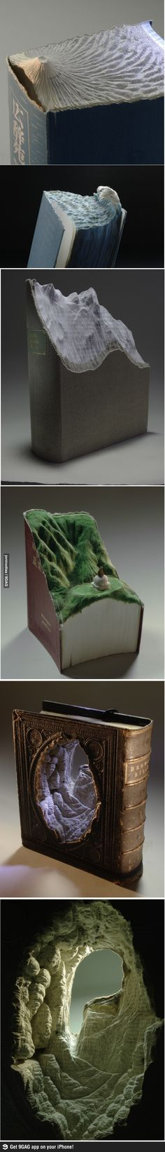 Landscapes carved on books = Amazing!