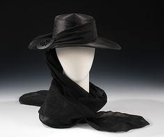 Mourning Hat, Henri Bendel (American, founded 1895): ca. 1915, American, straw, silk, plastic, metal.