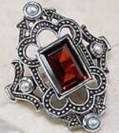 Heirloom Quality ~ 1 carat Victorian Garnet ring in 925 sterling silver #Band