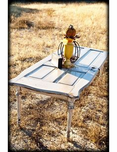 Repurposed: Antique Door Table - love the legs Old Door Tables, Door Coffee Tables, Antique Coffee Tables, Coffe Table, Antique Windows, Antique Doors, Old Doors, Repurposed Furniture, Diy Furniture