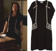 Elementary season 2, episode 23: Joan Watson's (Lucy Liu) black tunic dress with embroidered trim by DAY Birger et Mikkelsen #getthelook #joanwatson #elementary