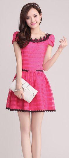 Mini Stripe Dress with Lace Collar YRB0694 #pink #alinedress #koreandress #asiandress