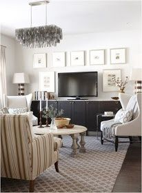 How to decorate around a flat screen. Like the large white matted photos...not too busy