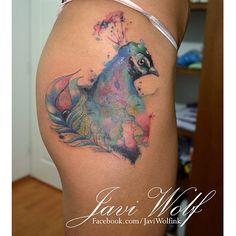 Javi Wolf watercolour peacock tattoo