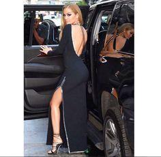 Singer Rita Ora in Dsquared2 Pre SS17 Dress and Black Riri Sandals #ritaora #dsquared2 #ss17 #dress #ririsandals