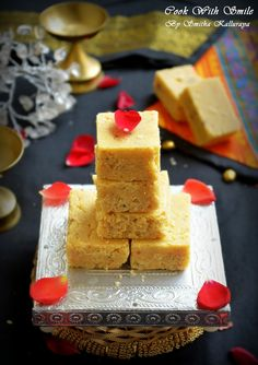 Seven Cup Burfi is an Indian dessert made from chickpea flour.