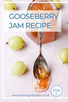 Gooseberry Jam is a rather magical jam. You start with green or slightly pink berries, sugar and water, and the result is a glowing amber-pink and totally delicious spread. #gooseberry #jam #jelly #nopectin #recipe