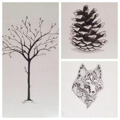 tree pinecone wolf krims krams art artwork artist kogle træ ulv doodles for my wall drawing tegning pen paper nordic home homedecor pictures