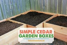 59 DIY Raised Garden Bed Plans & Ideas You Can Build in a Day Want to build a raised bed in your garden? Here's a list of the best free DIY raised garden bed plans and ideas that you can use as a guide or inspiration. Cedar Garden, Diy Garden, Garden Boxes, Garden Gate, Herb Garden, Raised Garden Bed Plans, Building A Raised Garden, Raised Beds, Handmade Home