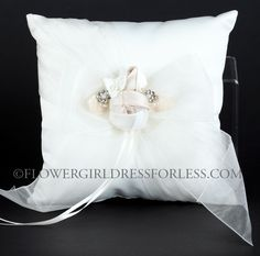 Ring Bearer Pillow Style 396 - Satin and Organza Pillow with Rosebud Detail- White or Ivory $19.99