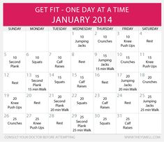 Get Fit in 2014 - Daily Beginner Workout Plan for January (with intermediate & advanced options)
