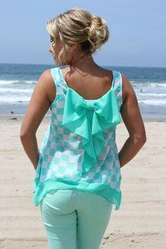 aqua bow shirt
