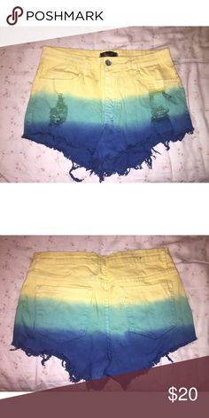 Tye dye high waisted shorts! Yellow green and blue tye dye high waisted shorts from Reign Boutique! Not purchased at Urban Outfitters~ Urban Outfitters Shorts