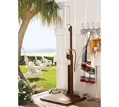 pool areas, beaches, outside showers, hooks, dream homes, outdoor showers, beach hous, outdoor fireplaces, pottery barn