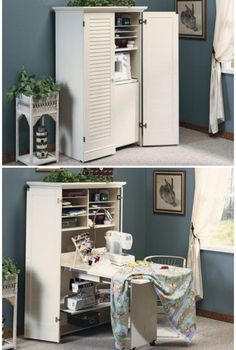 Have 2 of these cabinets side by side (one for sewing, one for surging) and tuck the chair between the cabinets when it's not being used. Great idea to keep things packed up and not looking cluttered.