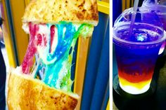 Try amazing and unusual futurist food in Hong Kong: a rainbow toast and a rainbow cocktail that changes colours when you drink it