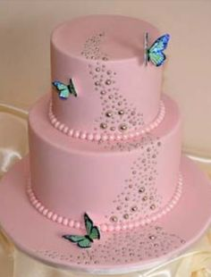 Pink earls Metallica butterflies shiny beautiful tiered wedding/birthday cake