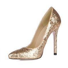 Women's Sparkling Glitter Stiletto Heel Closed Toe Pumps With Sequin