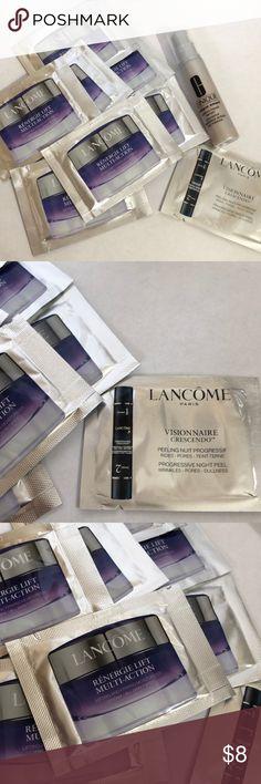 Lancôme and Clinique samples Lancôme samples 7 Renergie Lift and 1 Visionaire Crescendo.  1 Clinique custom repair Serum Lancome Makeup
