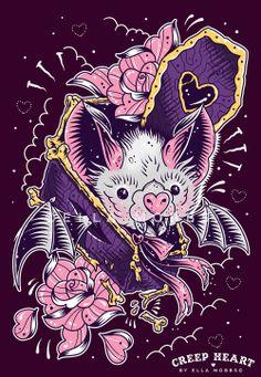Batty Coffin, Ella Mobbs I wouldn't get it but it's an awesome tattoo! Creepy Tattoos, Creatures Of The Night, Flash Art, Creepy Cute, Scary, Objet D'art, Heart Art, Cute Art, Art Inspo