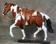 Beautiful western tack set on a Bonita resin sculpted & painted by Sheila Bishop.