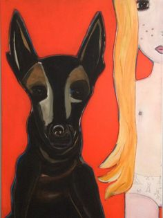 #Schilderij 'Dog' van Noes Butter is te koop via #KUNSTmarktplaats.nl. #kunst #art #girl #dog #hond #meisje #painting