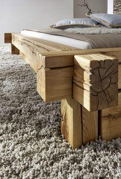 Doppelbett Bett Balkenbett 200x200cm Wildeiche Eiche Massiv Geolt 200x200cm Balkenbett Bett Doppelbett Eiche Furniture Diy Bed Diy Bedframe With Storage