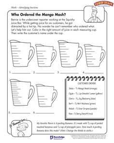 best js math worksheets images  th grade math math  teaching  who ordered the mango mash  math worksheets on fractions for kids   jumpstart math