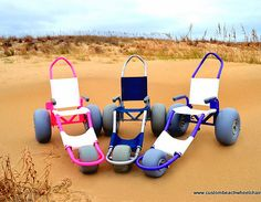 Sand Rider custom beach wheelchairs enable anyone to safely enjoy the beach, sand and water. Adaptive Sports, Adaptive Equipment, Mobiles, Wheelchair Accessories, Muscular Dystrophies, Pvc Projects, Mobility Aids, Spinal Cord Injury, Assistive Technology