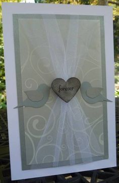 Wedding Card, featuring the Stampin' Up! Bird Punch - gorgeous and elegant!