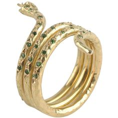 Mira Gold Emerald Snake Ring ($2,395) ❤ liked on Polyvore