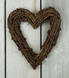 Chunky Rattan Heart Wreath with Jute Hanger  A chunky wooden rattan heart wreath with jute hanger.  #homedecor #wreath #rattan #hangdecoration #rustic